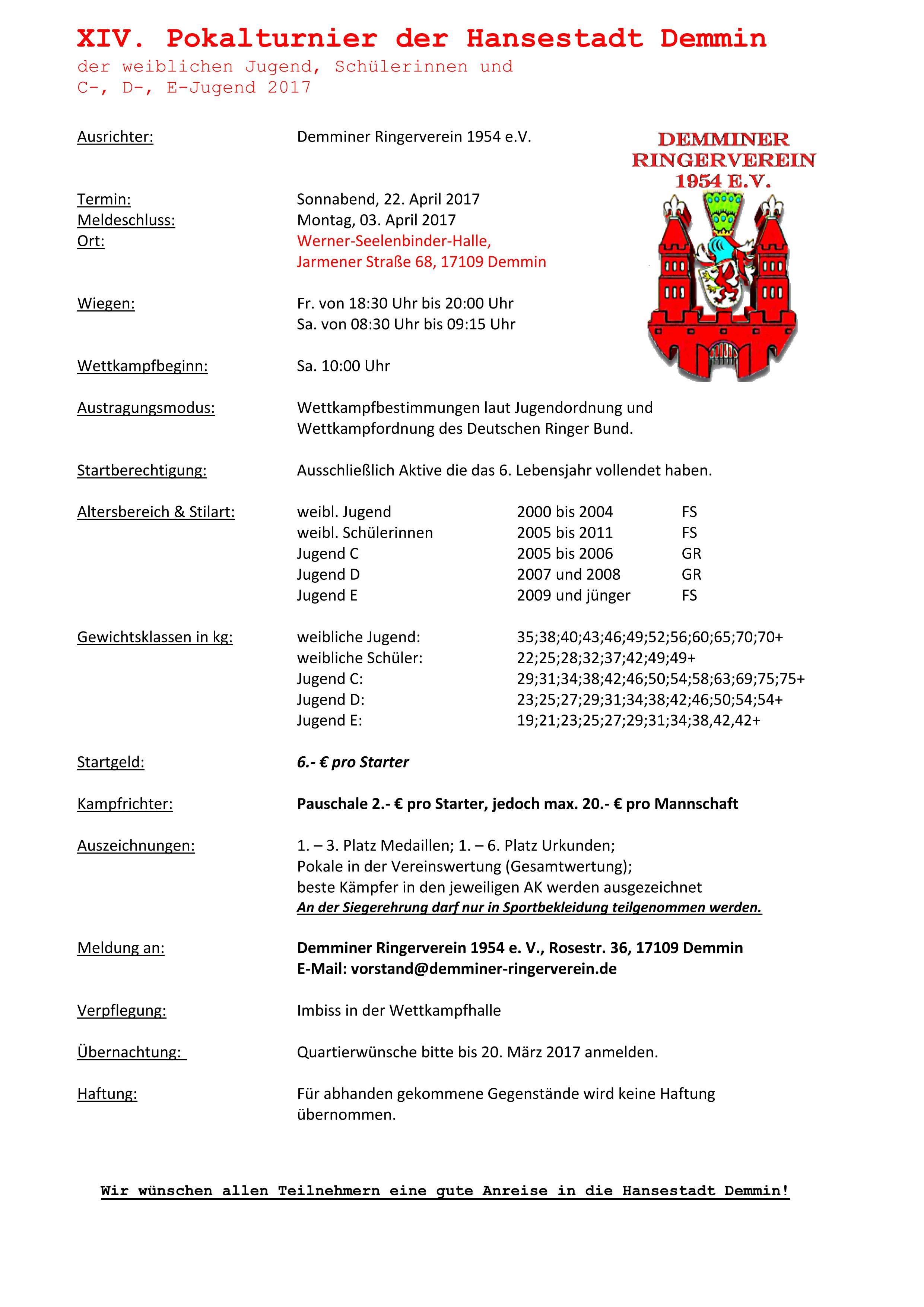 XIV. Pokalturnier der Hansestadt Demmin