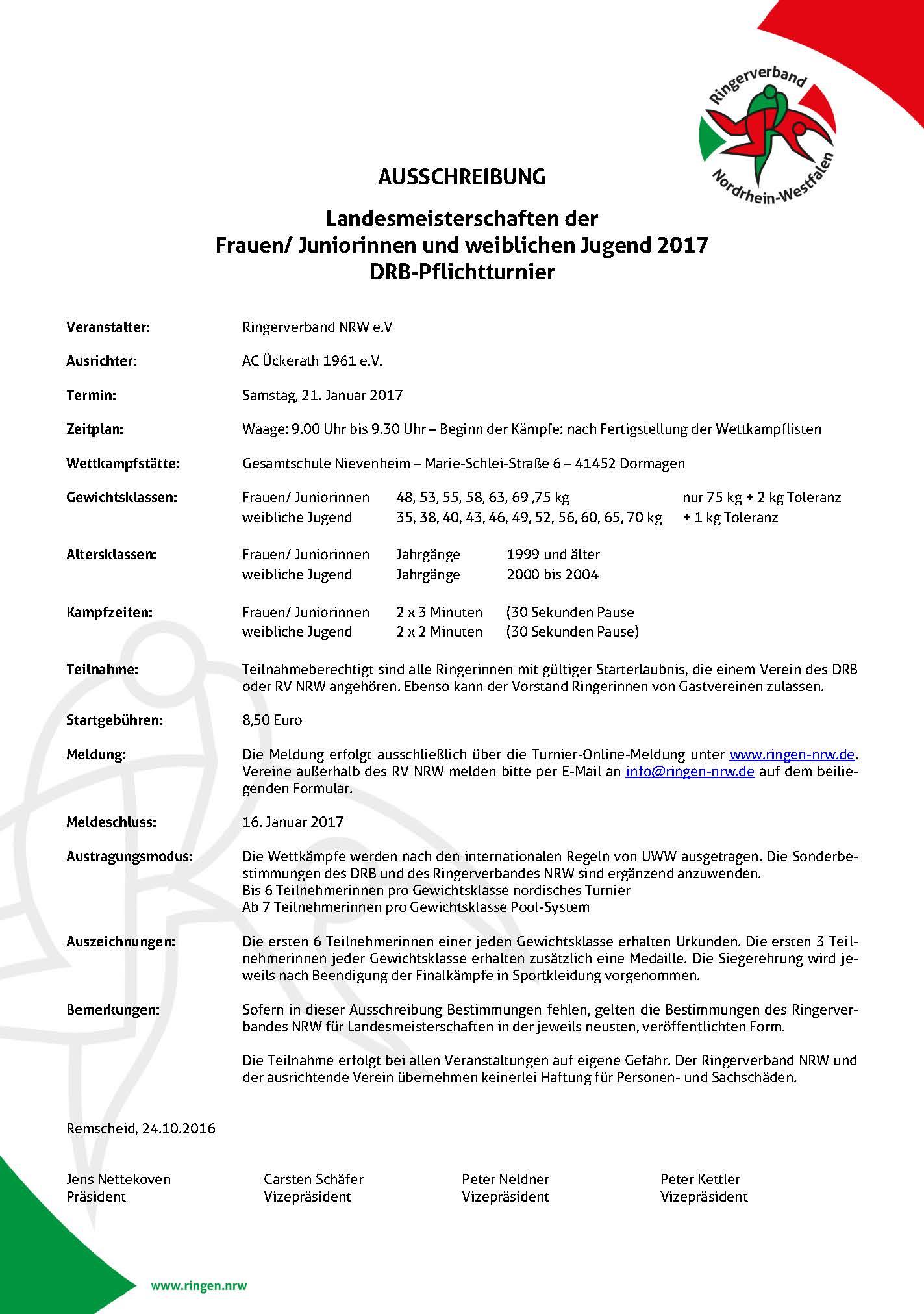 Landesmeisterschaft NRW Frauen/Juniorinnen & weibliche Jugend 2017