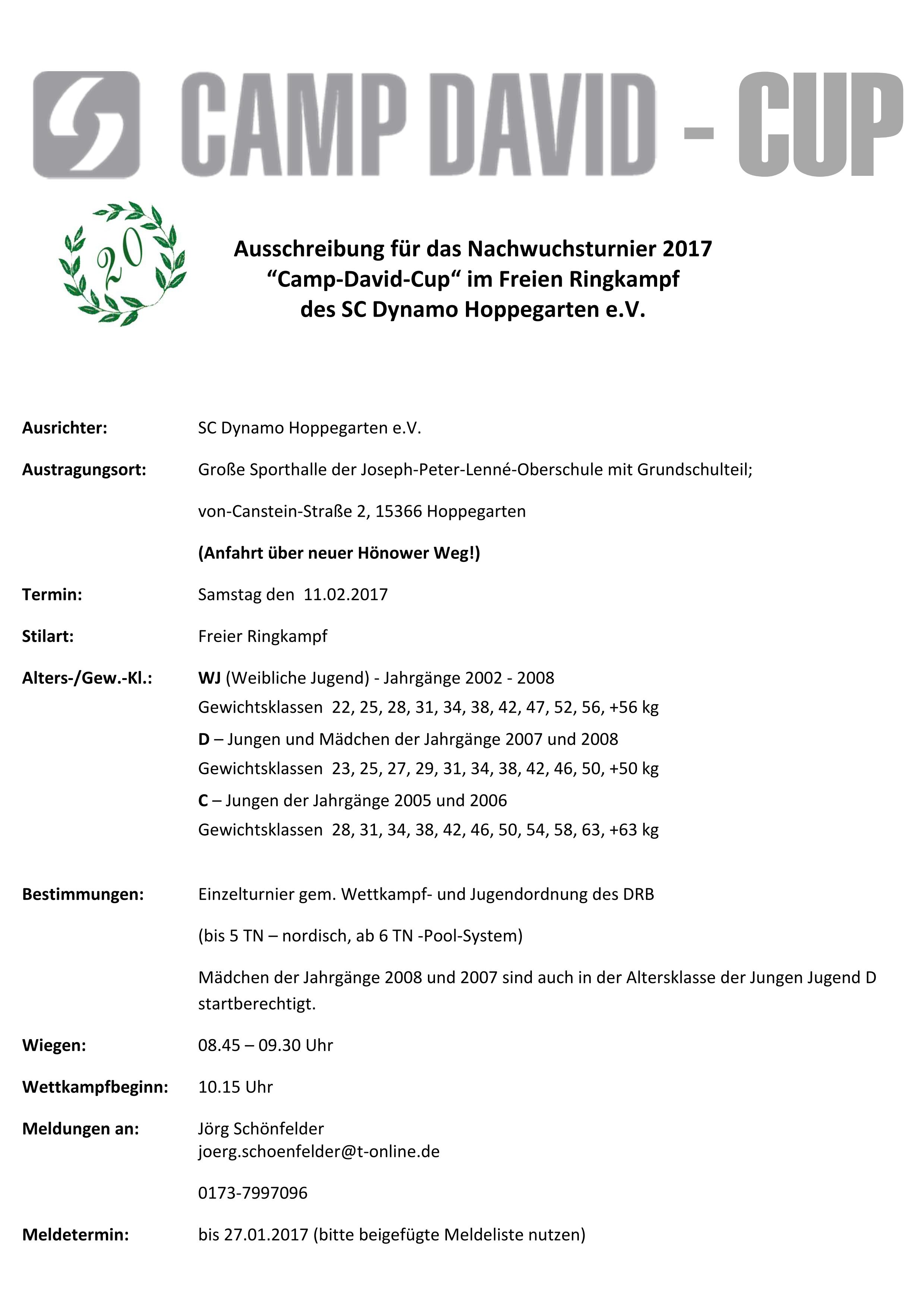 Camp David Cup Weibl. Jugend & C/D-Jugend 2017