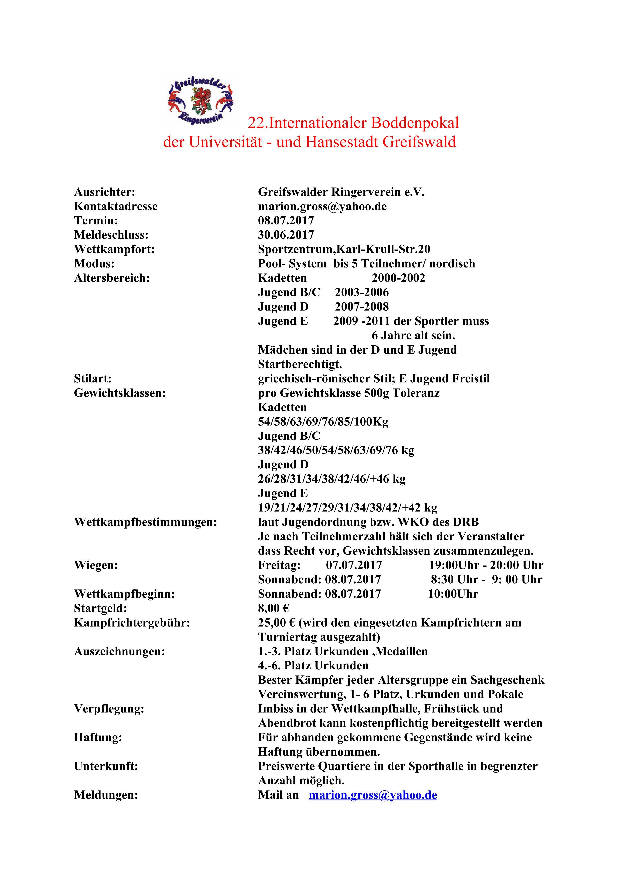 22. Internationaler Boddenpokal der Universität- und Hansestadt Greifswald