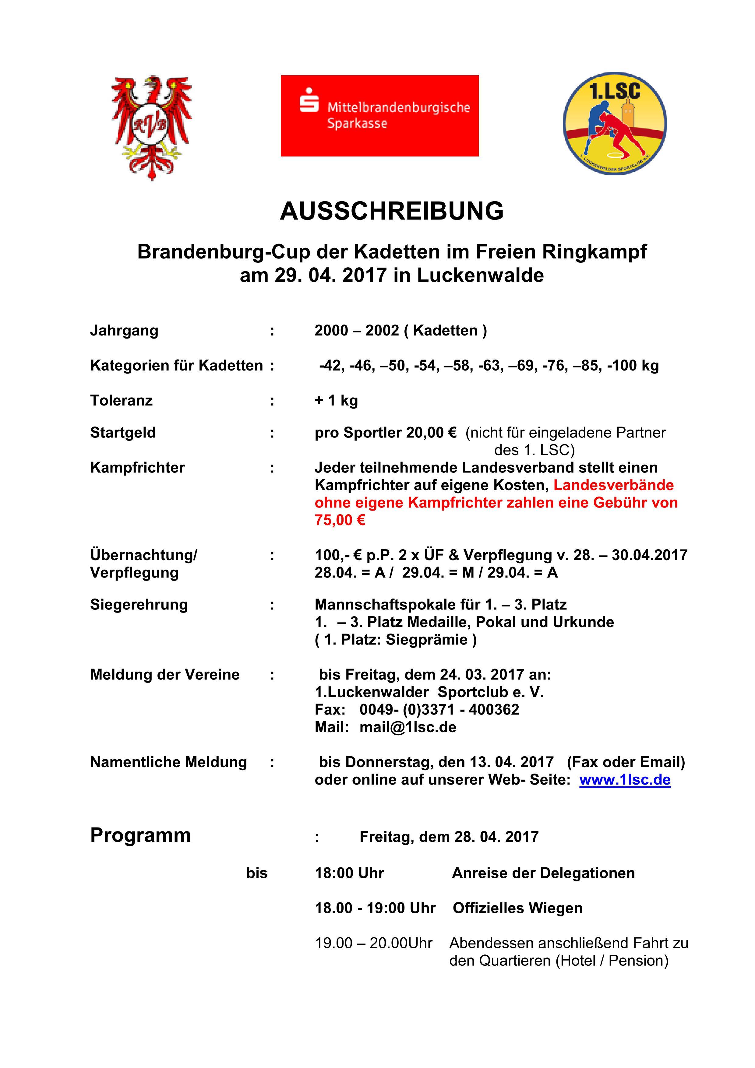 Brandenburg-Cup der Kadetten im Freien Ringkampf
