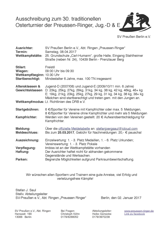 30. Osterturnier der Preussen-Ringer, Jug.-D & E (FS)