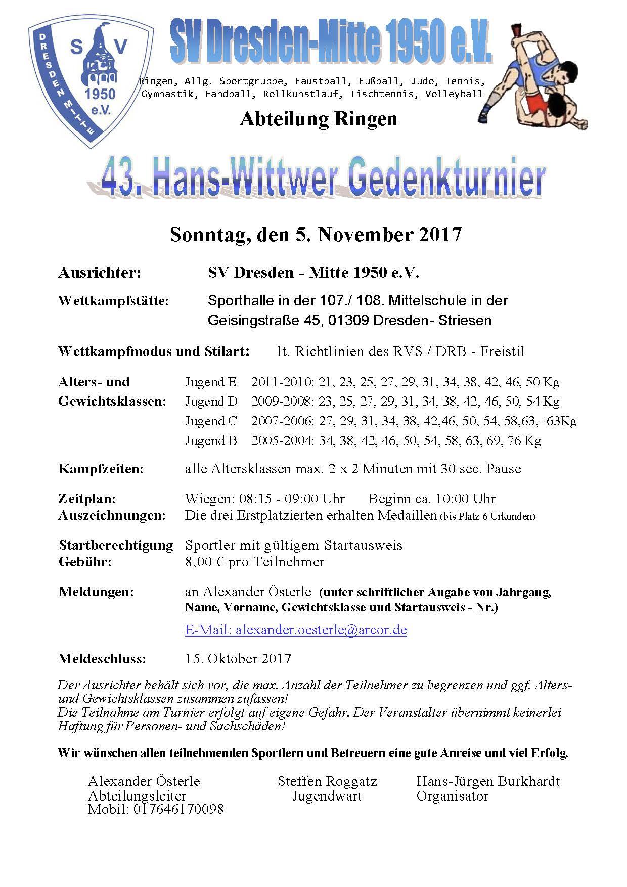 43. Hans-Wittwer-Gedächtnisturnier