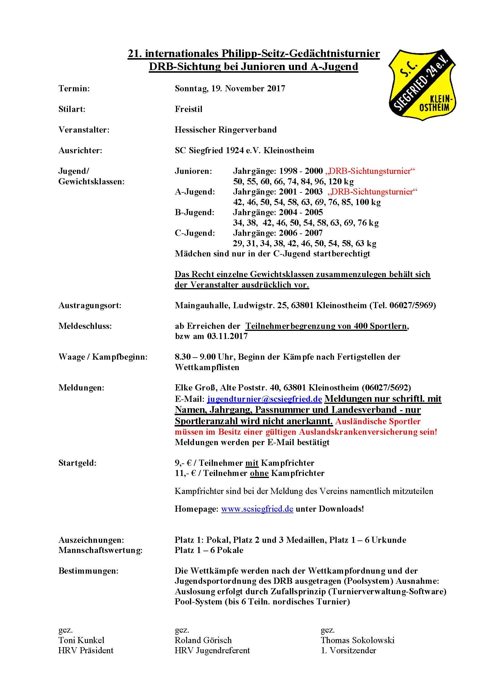 21. Internationales Philipp-Seitz-Gedächtnisturnier