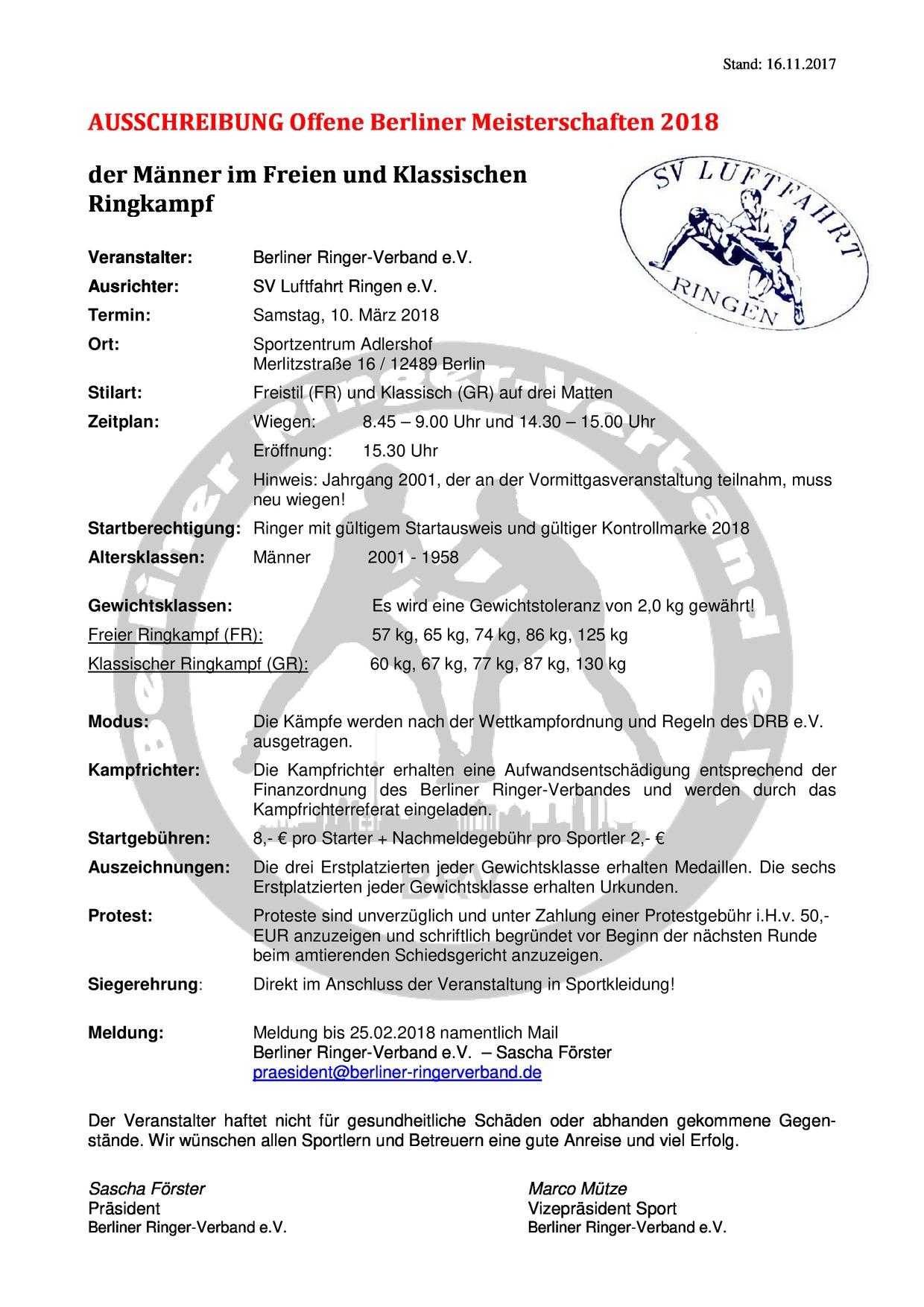 Offene Berliner Meisterschaft 2018 Männer FR + GR