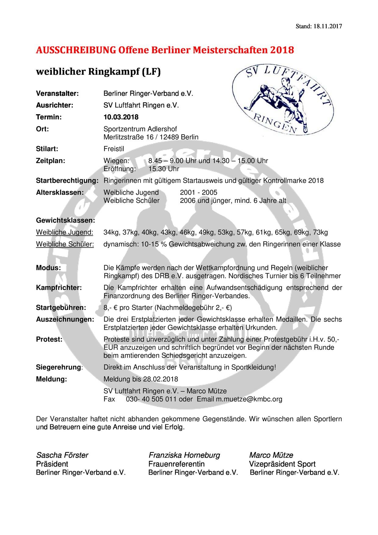 Offene Berliner Meisterschaft weiblicher Ringkampf 2018