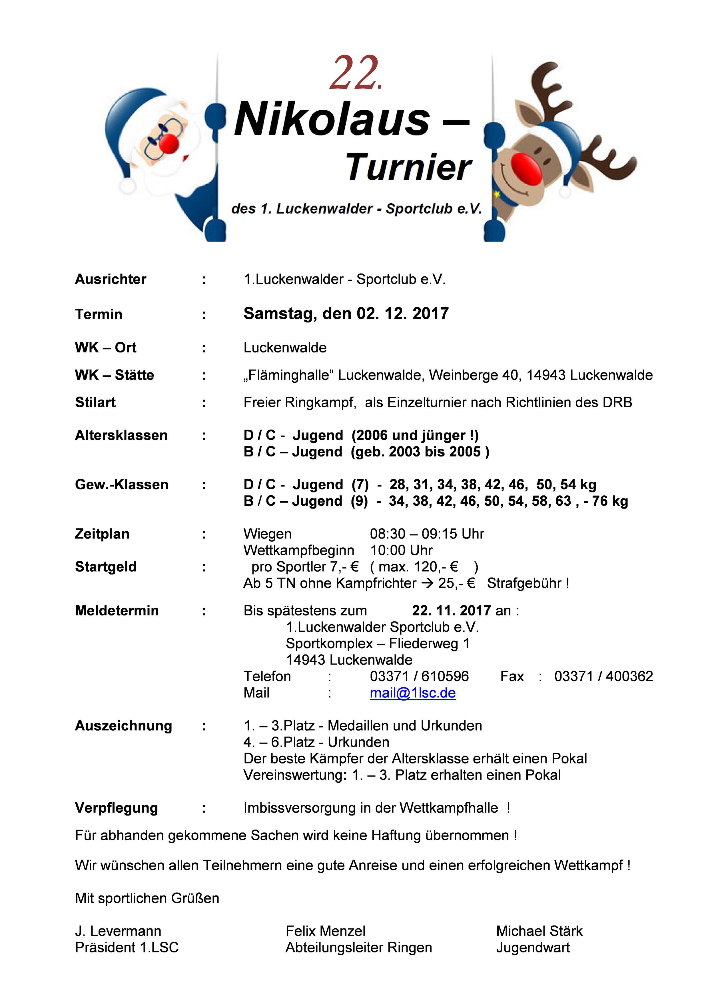 22. Nikolausturnier Luckenwalde