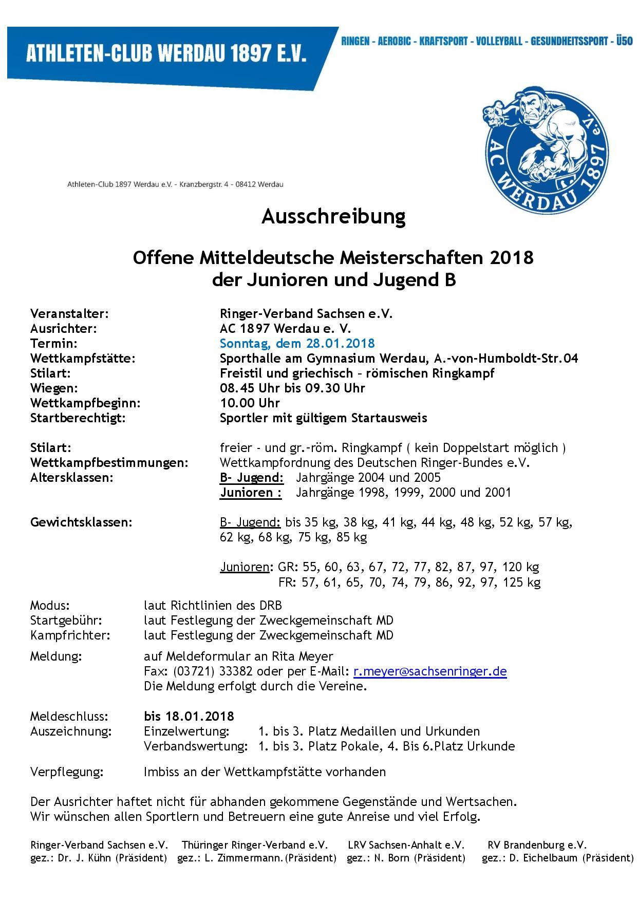 Offene Mitteldeutsche Meisterschaft Junioren/ Jugend B FR+GR