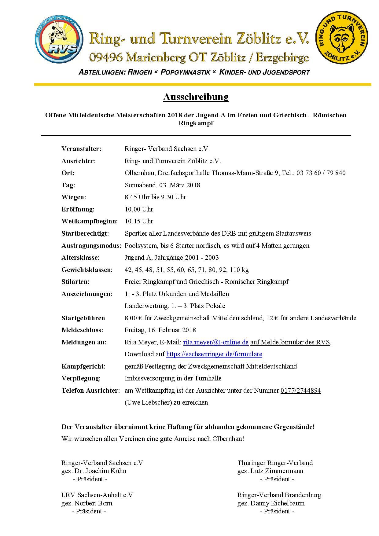 Offene Mitteldeutsche Meisterschaften 2018 Jugend A FR/GR