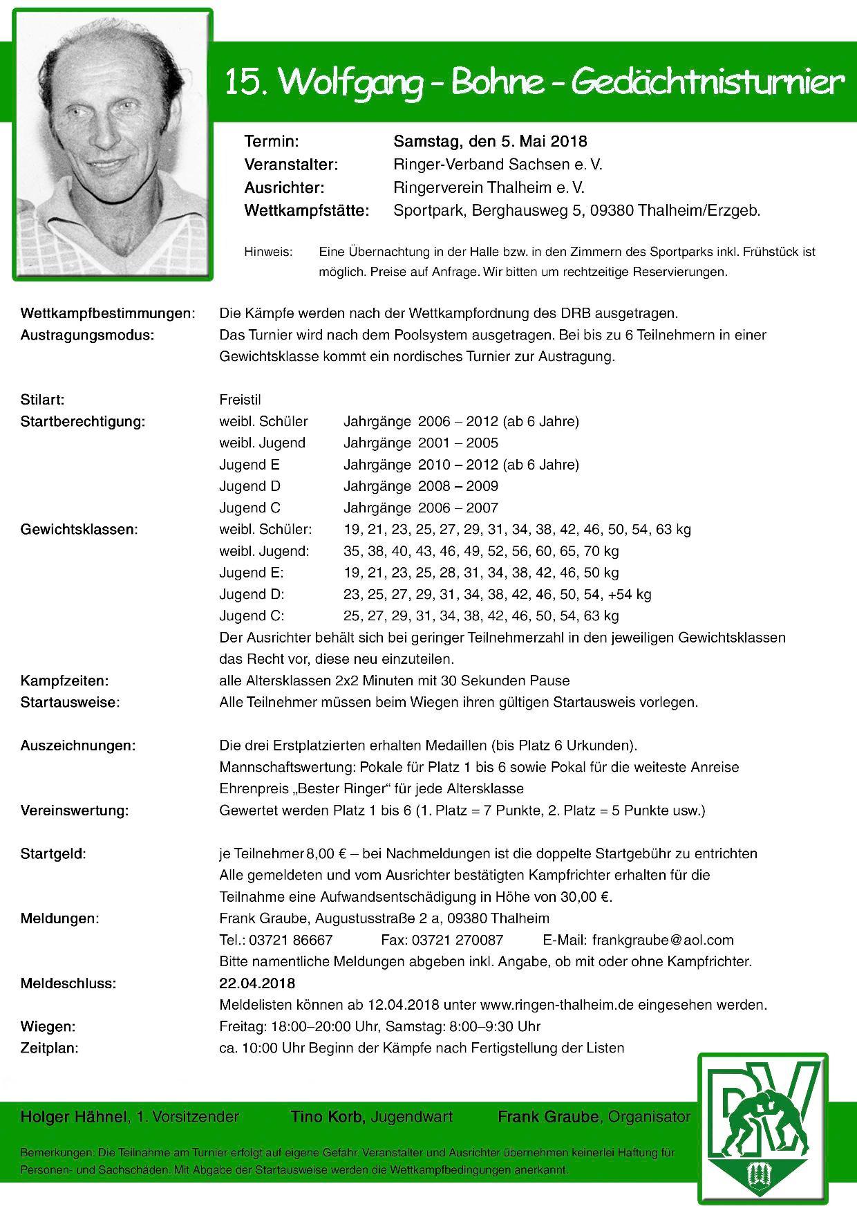 15. Wolfgang- Bohne- Gedächtnisturnier