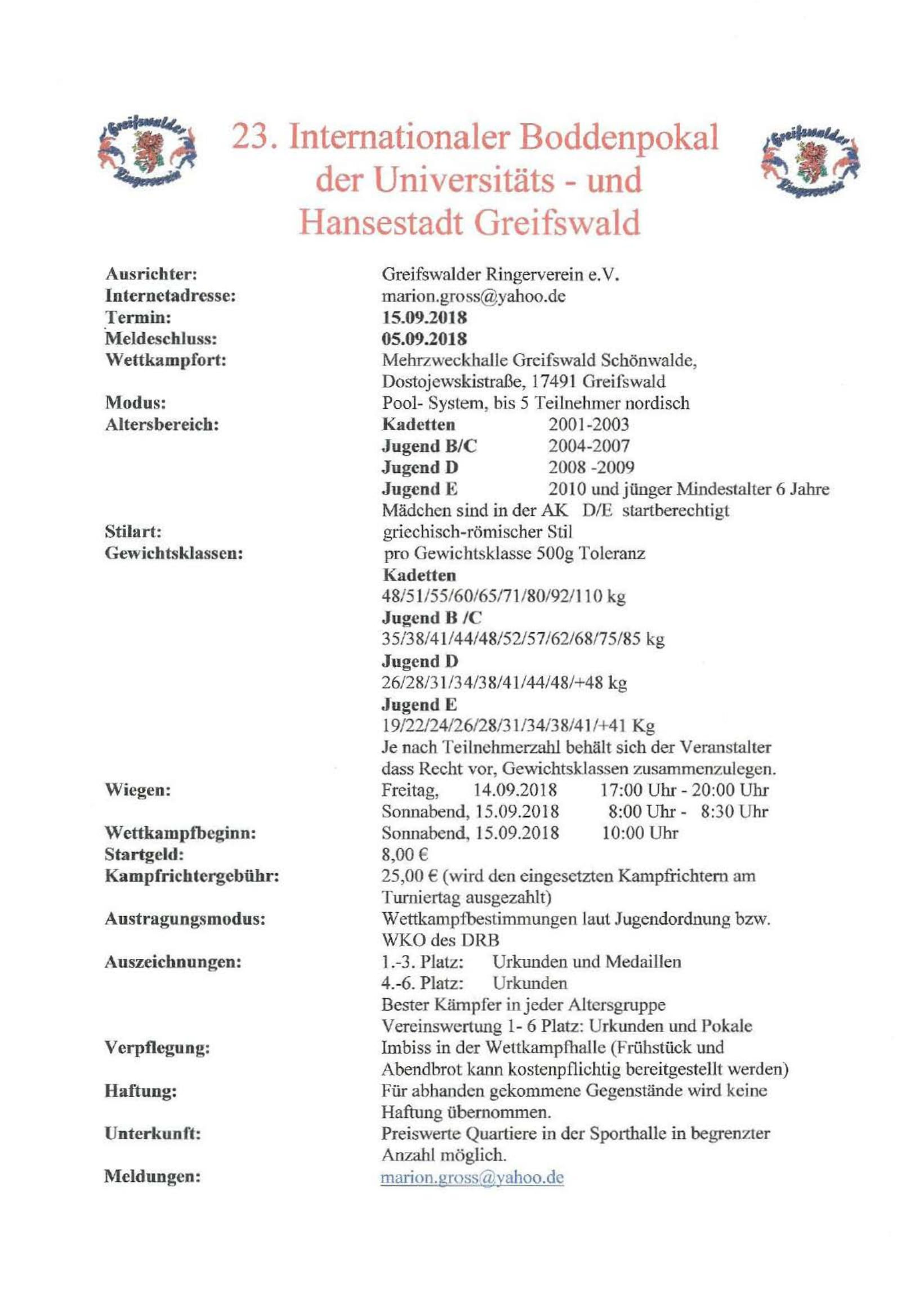 23. Internationaler Boddenpokal Greifswald