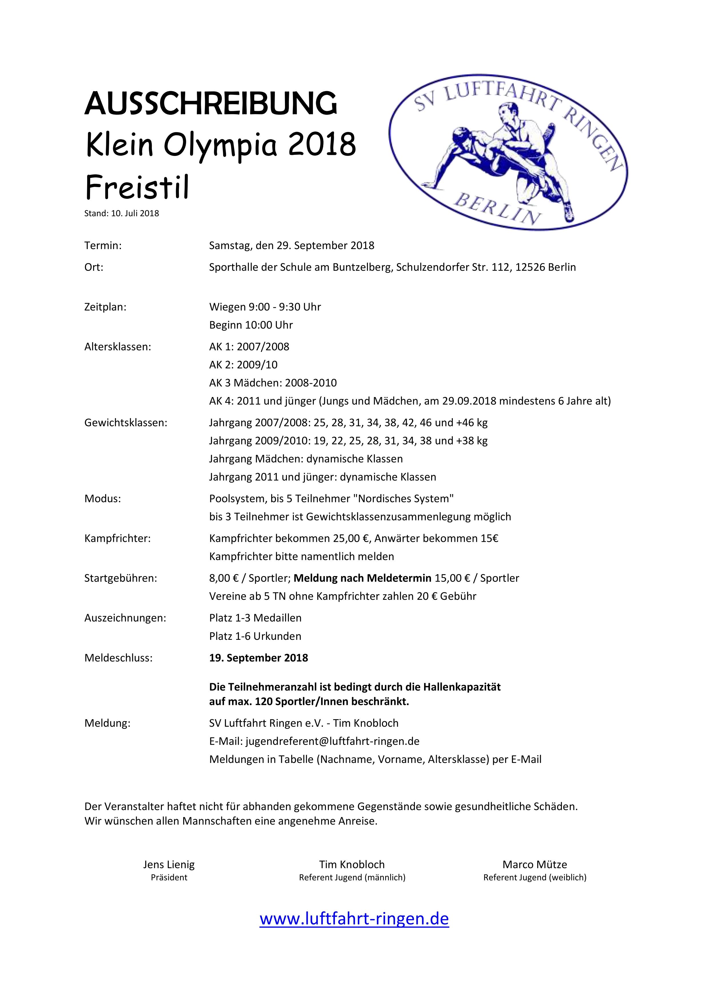 Klein Olympia 2018