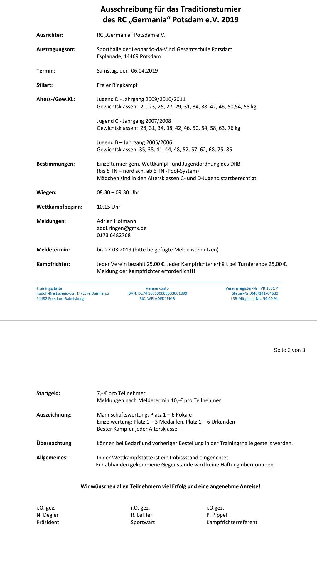 Traditionsturnier Potsdam 2019