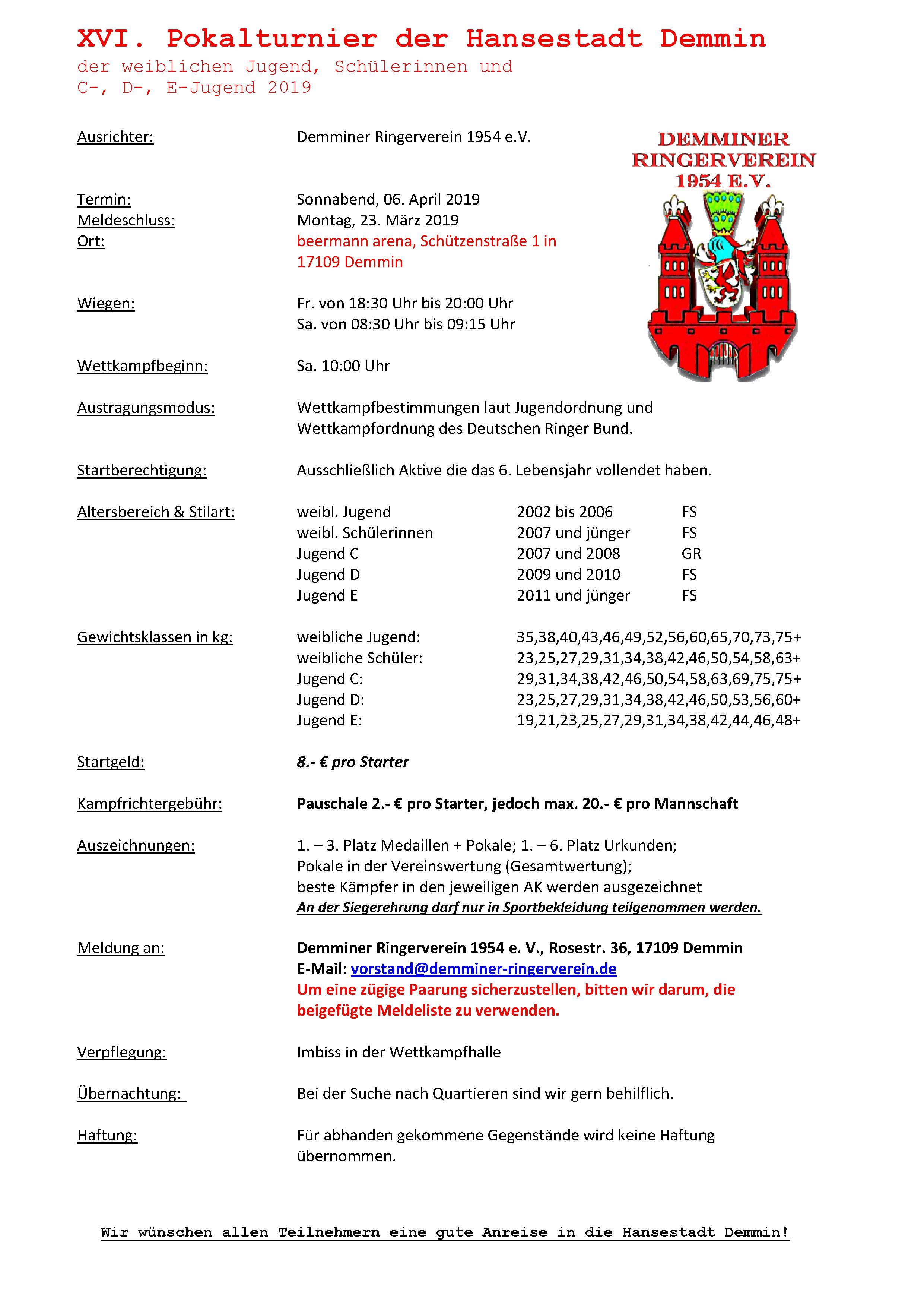 XVI. Pokalturnier der Hansestadt Demmin