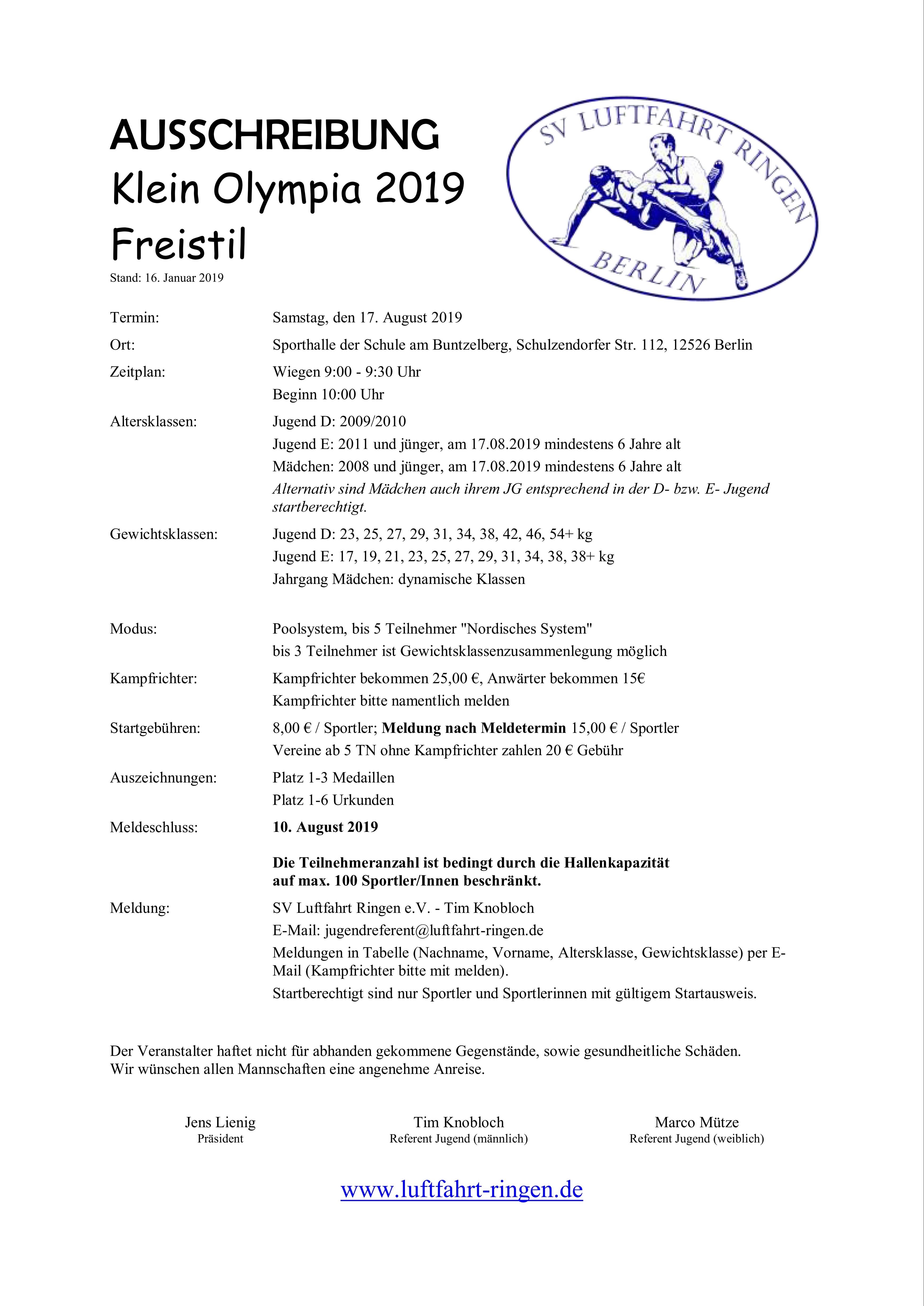 Klein Olympia 2019
