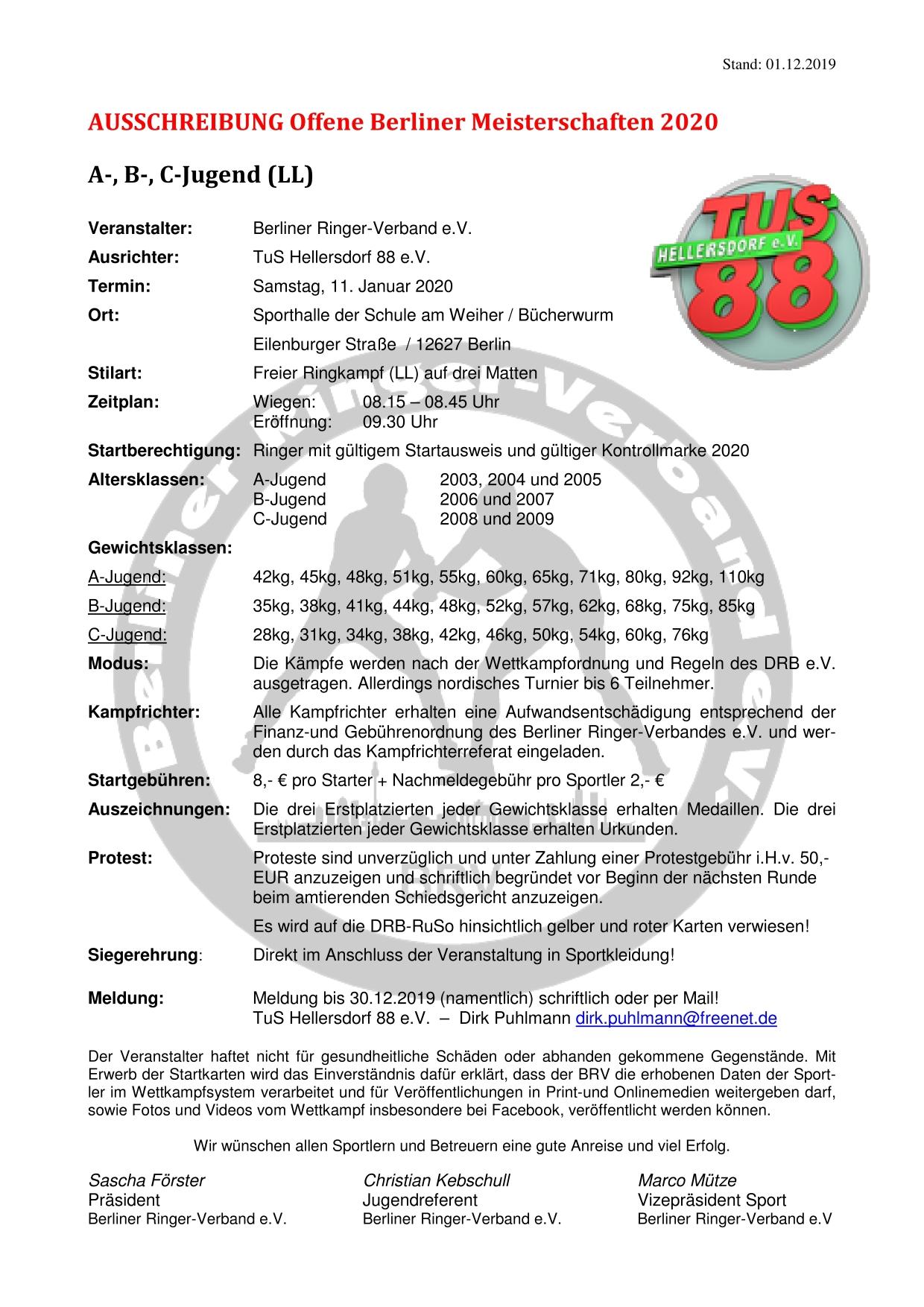 Offene Berliner Meisterschaften 2020 A-,B-,C-Jugend FS