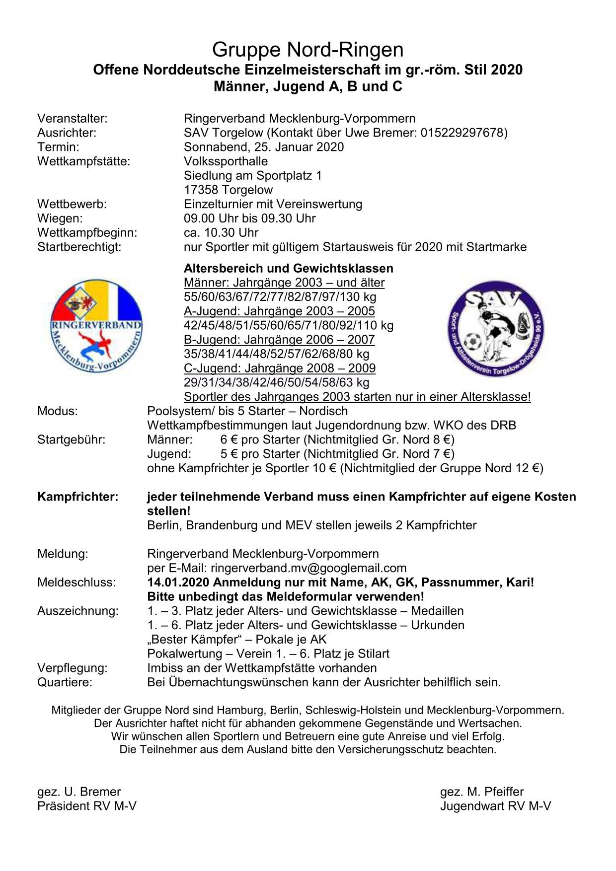 Offene Norddeutsche Meisterschaft 2020 Männer, Jugend A, B und C GR