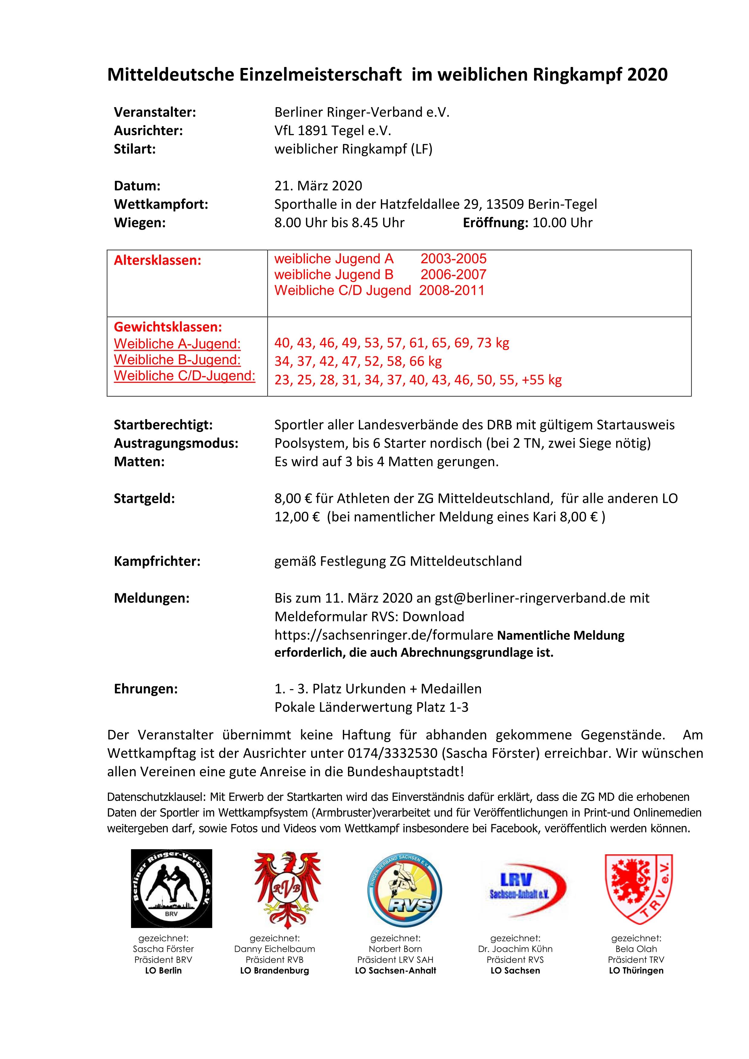 ABGESAGT! Mitteldeutsche Meisterschaften 2020 Weibliche Jugend A & B und weibliche Schüler