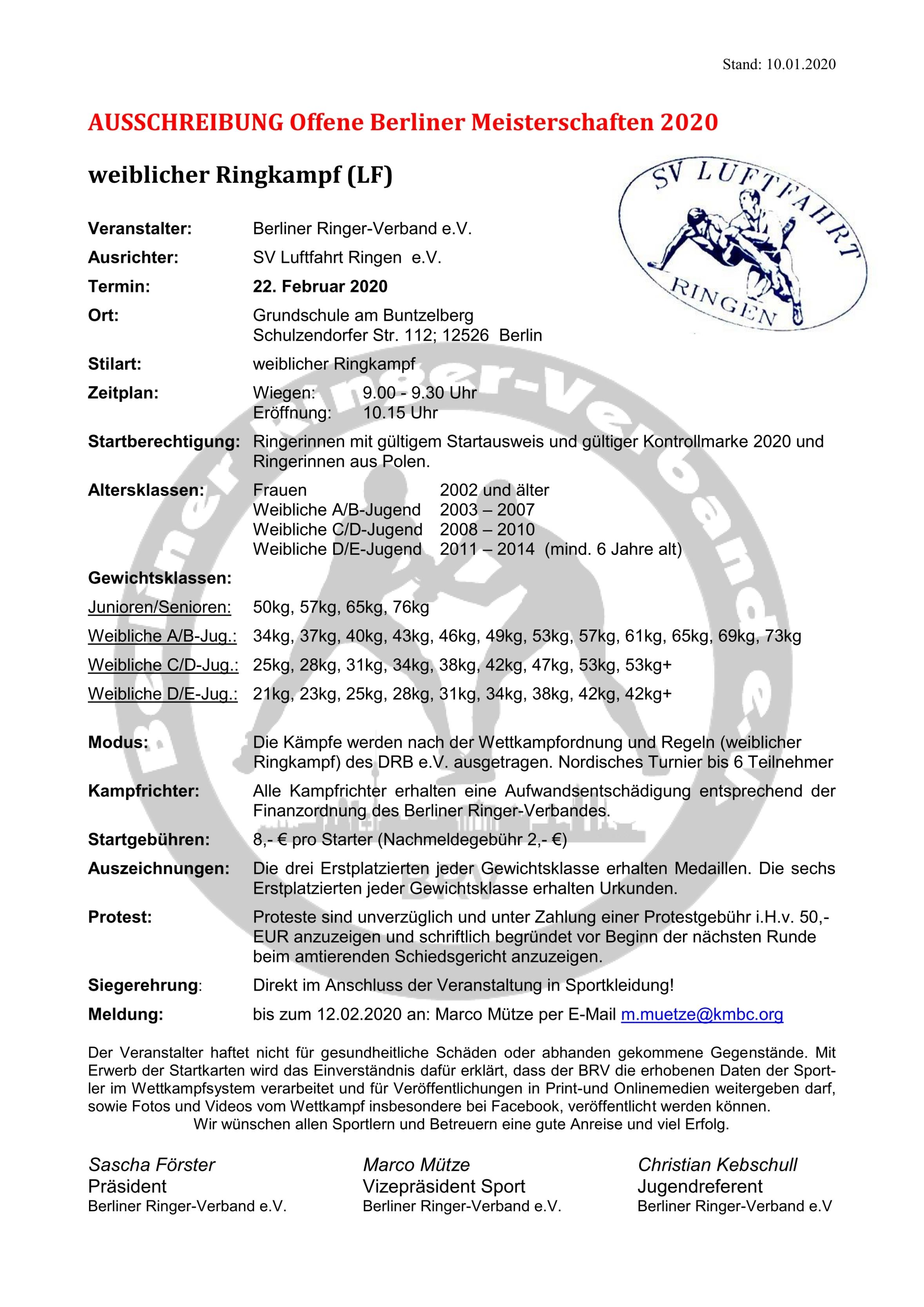 Berliner Meisterschaften 2020 Weibliche Jugend und weibliche Schüler