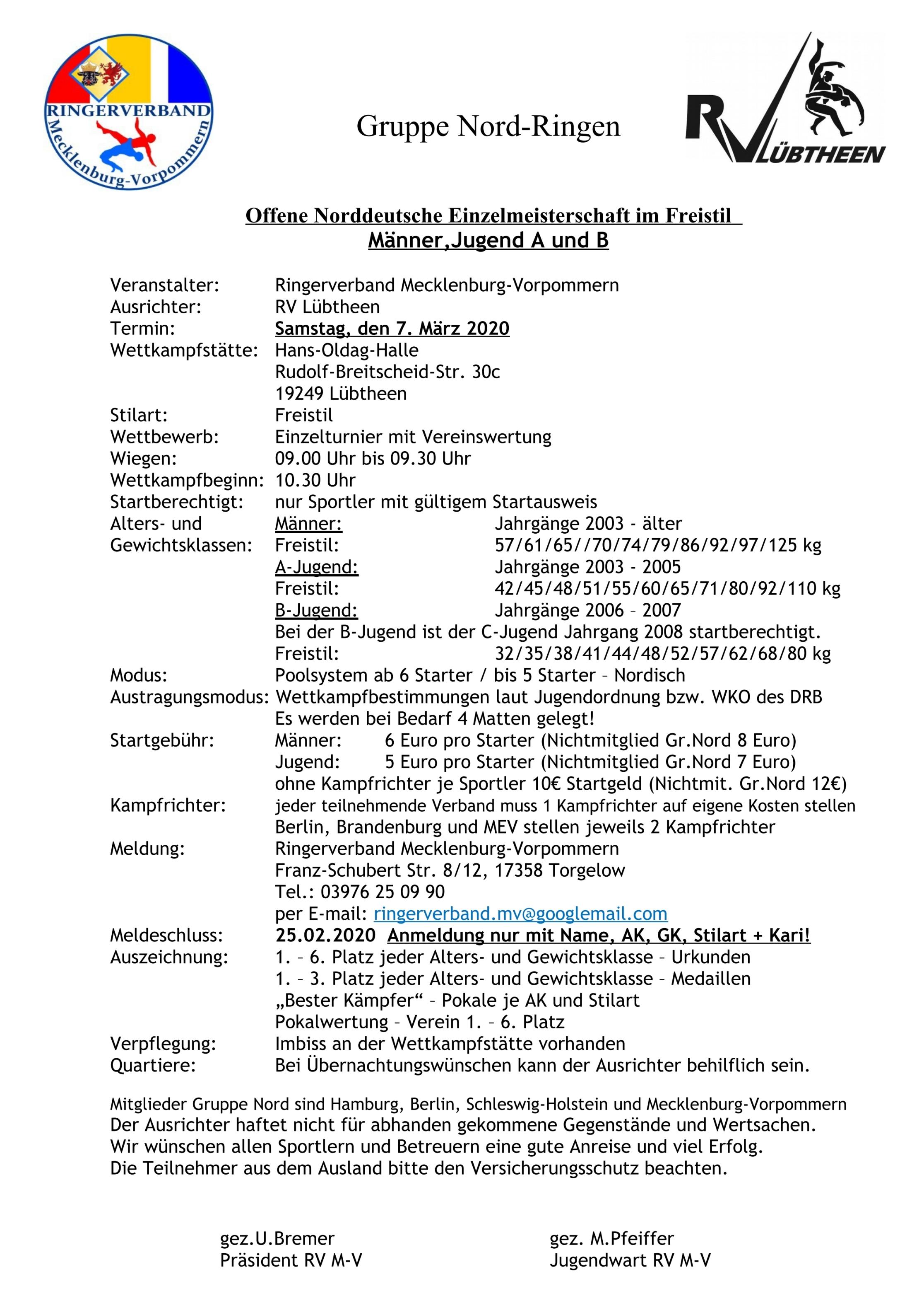 Offene Norddeutsche Einzelmeisterschaft Männer, Jugend A & B FS