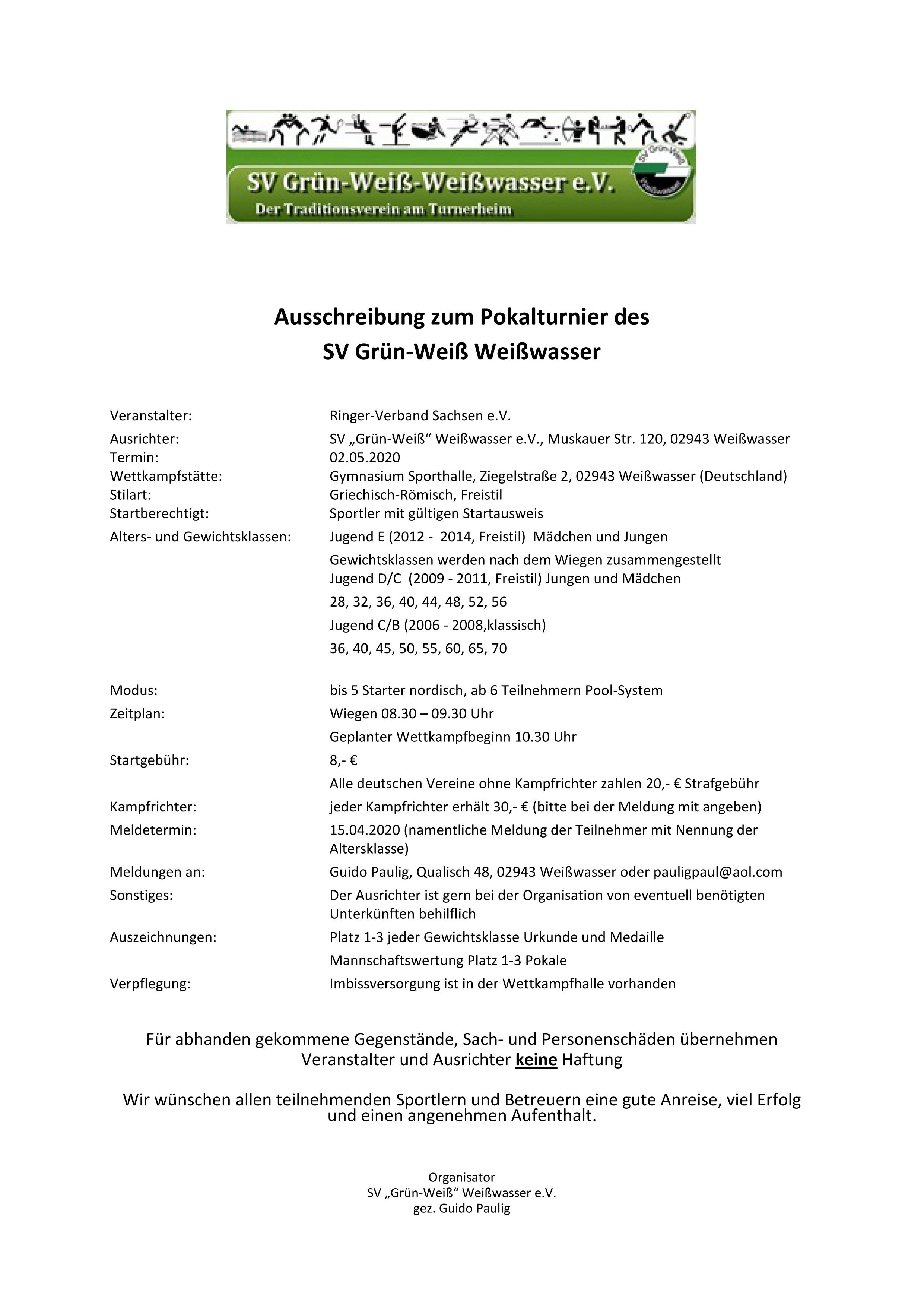 Pokalturnier des SV Grün-Weiß Weißwasser 2020