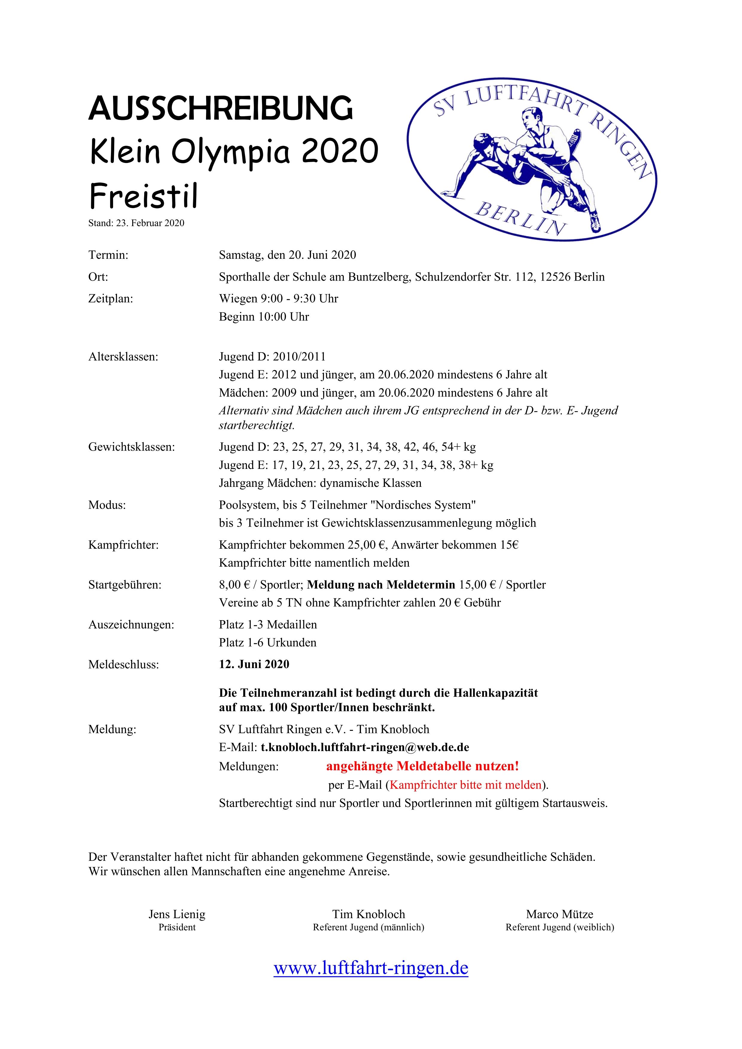Klein Olympia 2020 Freistil