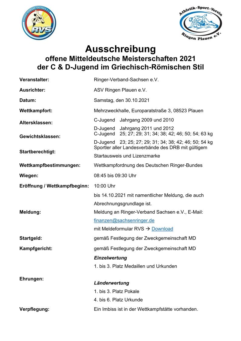 Offene Mitteldeutsche Meisterschaften C/D-Jugend GR 2021
