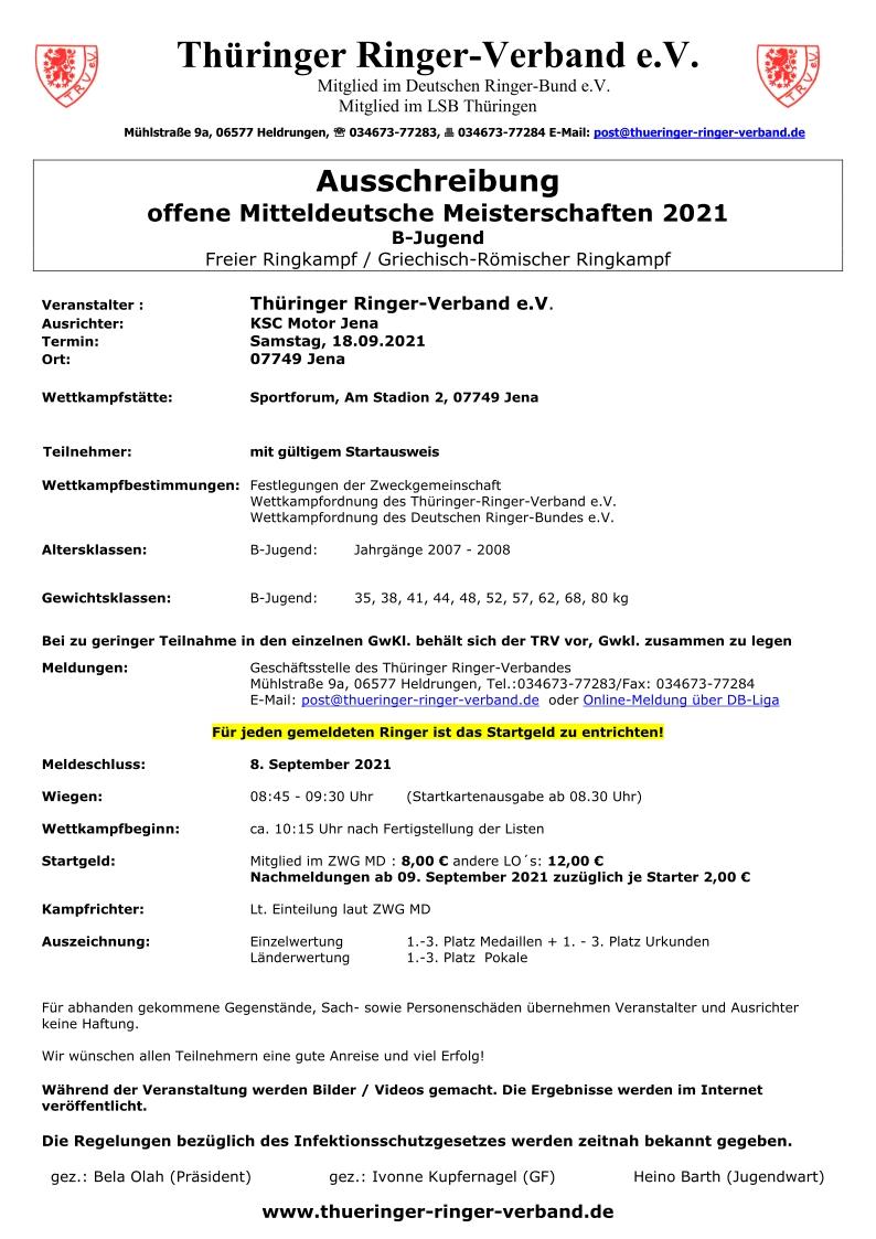 Offene Mitteldeutsche Meisterschaften B-Jugend 2021