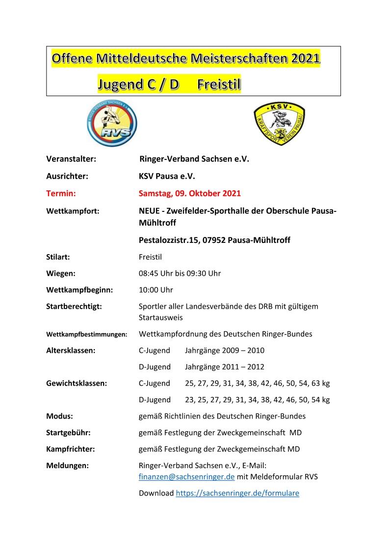 Offene Mitteldeutsche Meisterschaften C/D-Jugend FS 2021