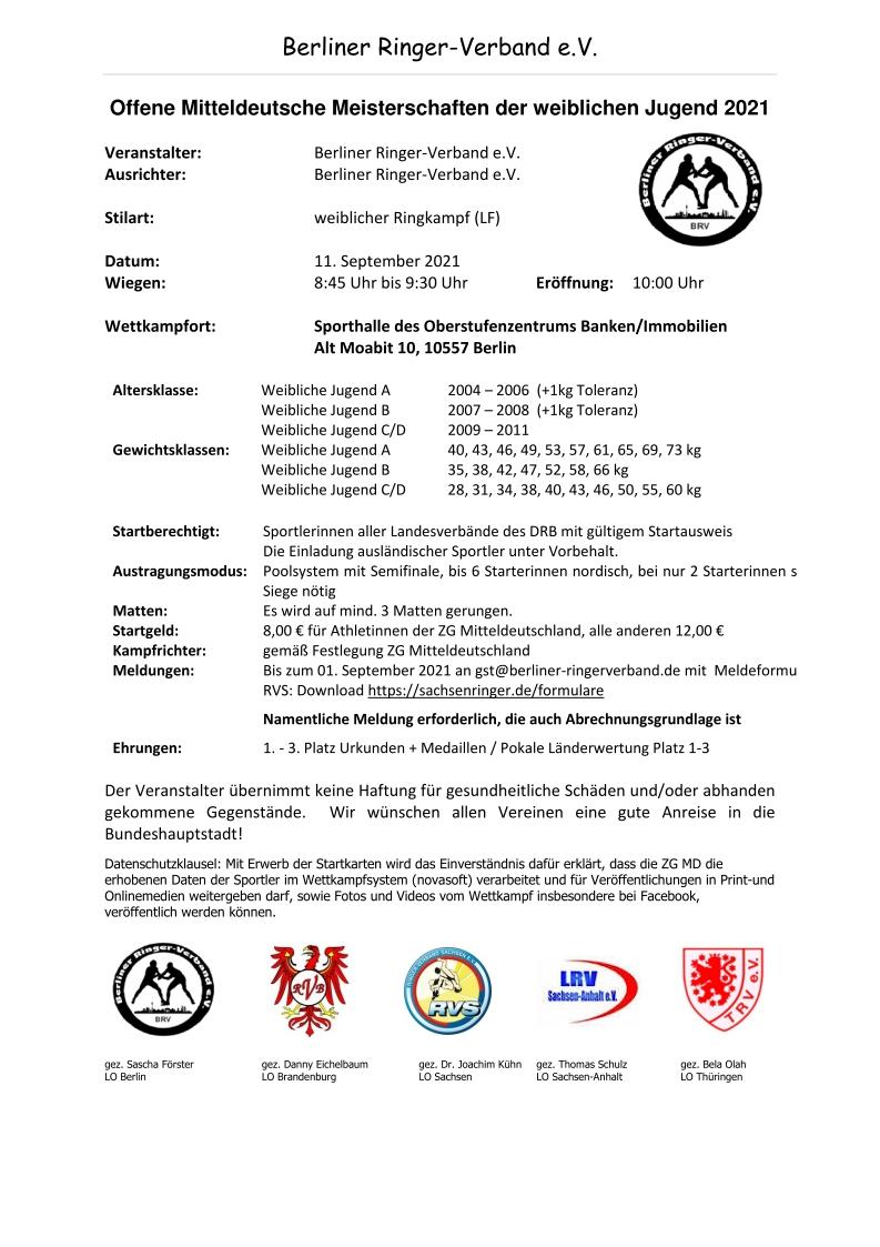 Offene Mitteldeutsche Meisterschaften der weiblichen Jugend 2021